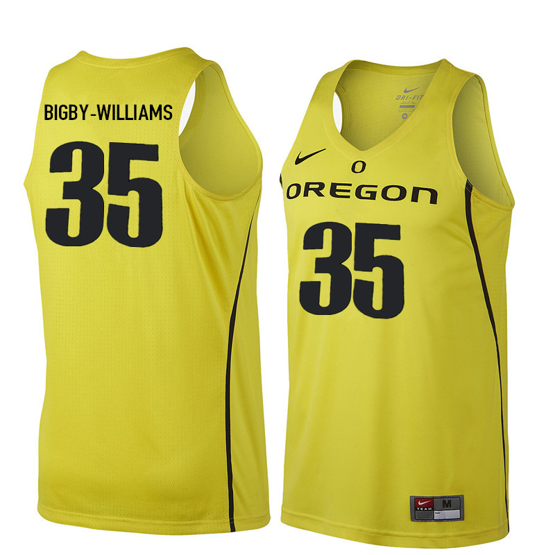 Men Oregon Ducks #35 Kavell Bigby-Williams College Basketball Jerseys Sale-Yellow