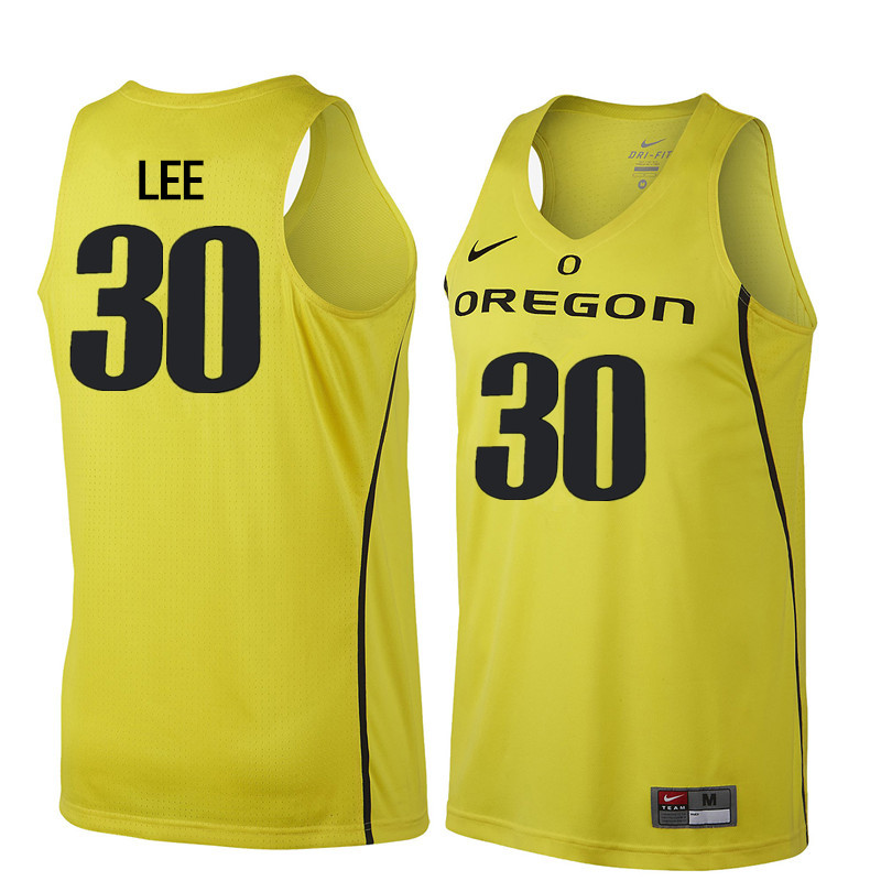 Men Oregon Ducks #30 Ron Lee College Basketball Jerseys Sale-Yellow